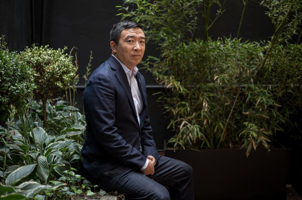 Entrepreneur and presidential hopeful Andrew Yang in Chelsea, Manhattan, ahead of a meeting with undecided voters moderated by NPR on October 19, 2019 / A.J. Chavar for NPR