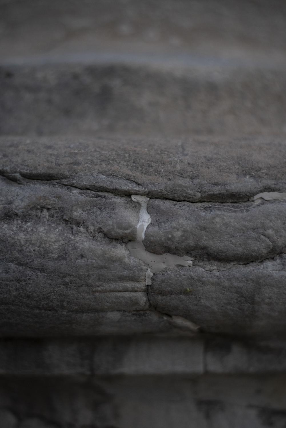 Sealant fills a crack in a column Oct. 12 at the University of Missouri in Columbia, Mo.