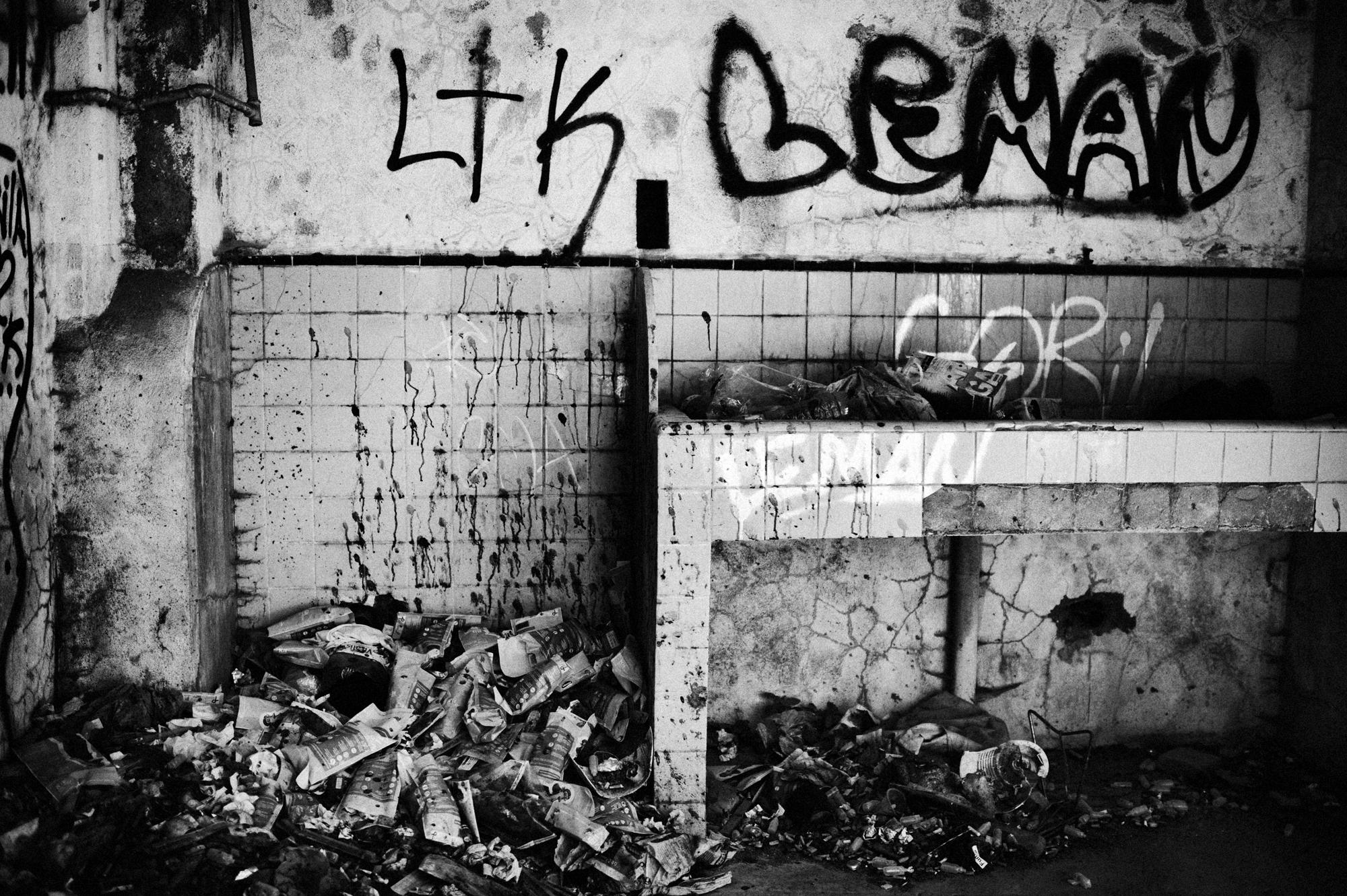 Beifica, Lisbon, Portugal. July 2011. An abandoned bulding where heroin addicts live and shoot.