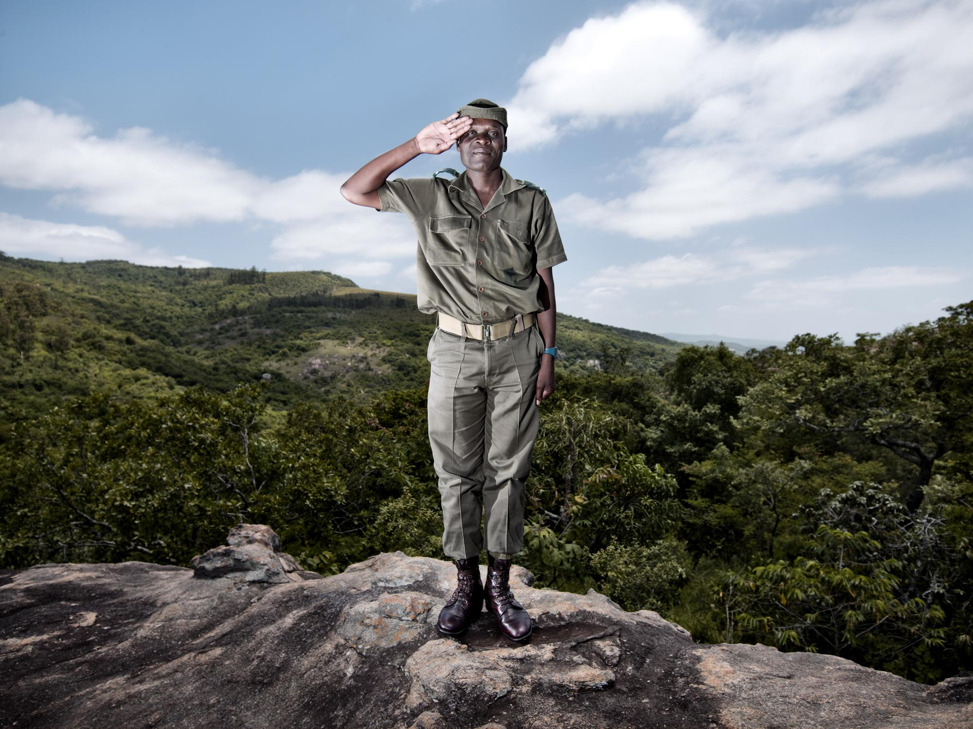 "Pep Bonet / Noor. November 2009. South Africa. ¨Remarkable South Africans"" Sergeant Albert Maluleke. A field ranger sergeant working in the Kruger National Park, one of Africa's largest game reserves. He has dedicated more than 20 years of service to conservation,."