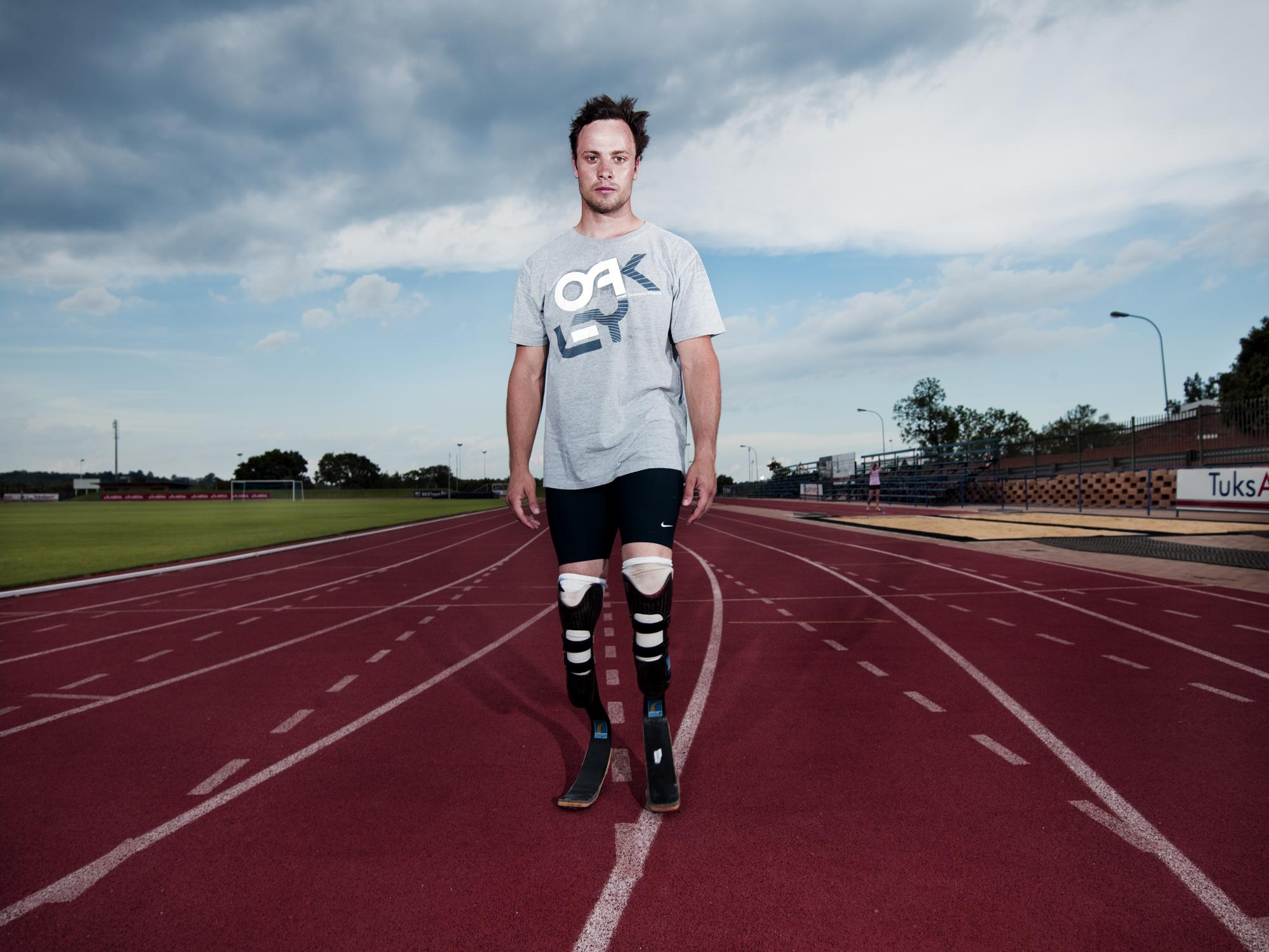 "Pep Bonet / Noor. November 2009. South Africa. ¨Remarkable South Africans"" Oscar Pistorius. ""More and more disabled people around the world are making a mental stand to overcome their disabilities and to live life, and I think that is phenomenal"". Dubbed by the media as 'the fastest man on no legs', Oscar Pistorius is a Paralympic champion and world record holder of the 100, 200 and 400 metres. Oscar Pistorius was born without fibula in his leg. At the age of 11 months, his parents made the difficult decision to amputate his legs halfway between his knees and his ankles. Within six months, he had learned to walk on prosthetic legs and has never looked back. Oscar Pistorius does not see himself as disabled; he was just born without legs. His parents played an important role in never allowing their son to think of himself as disadvantaged. They challenged him to play sport from a very young age, from rugby to water polo, tennis to wrestling. Sport came naturally to him and helped him feel like any other boy growing up. (more text available)."