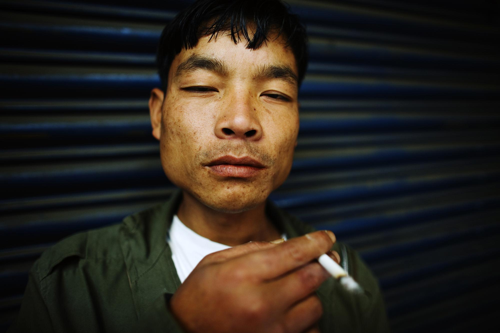 INDIA Shillong, Meghalaya A portrait of a recovering drug addict at the NEW HOPE drop-in centre. Here, ex drug addicts recover from their heroin and alcohol addictions.