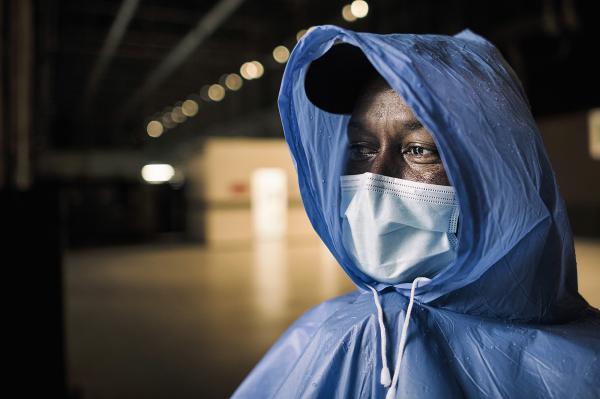 Noel, Cuban nurse of the Brigade, portrait in a rainy day