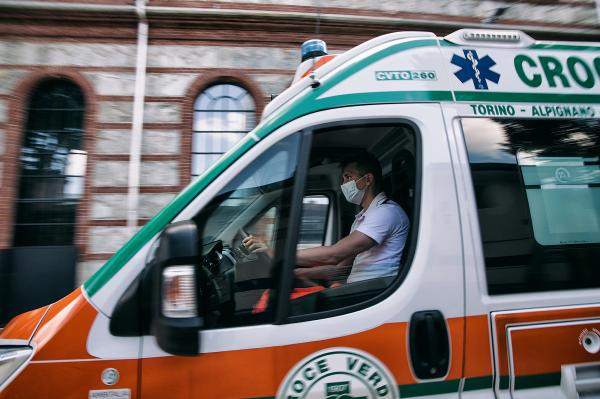 OGR, Turin, Italy. Ambulance coming into the temporary hospital