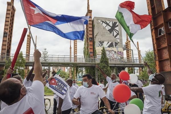 Parco Dora, Turin, Italy. A big party in Parco Dora to celebrate the healed by Covid-19 at the Ogr and to thank and greet the Cuban brigade of doctors and nurses who after more than one hundred days of work in the Turin temporary hospital, are going to return home