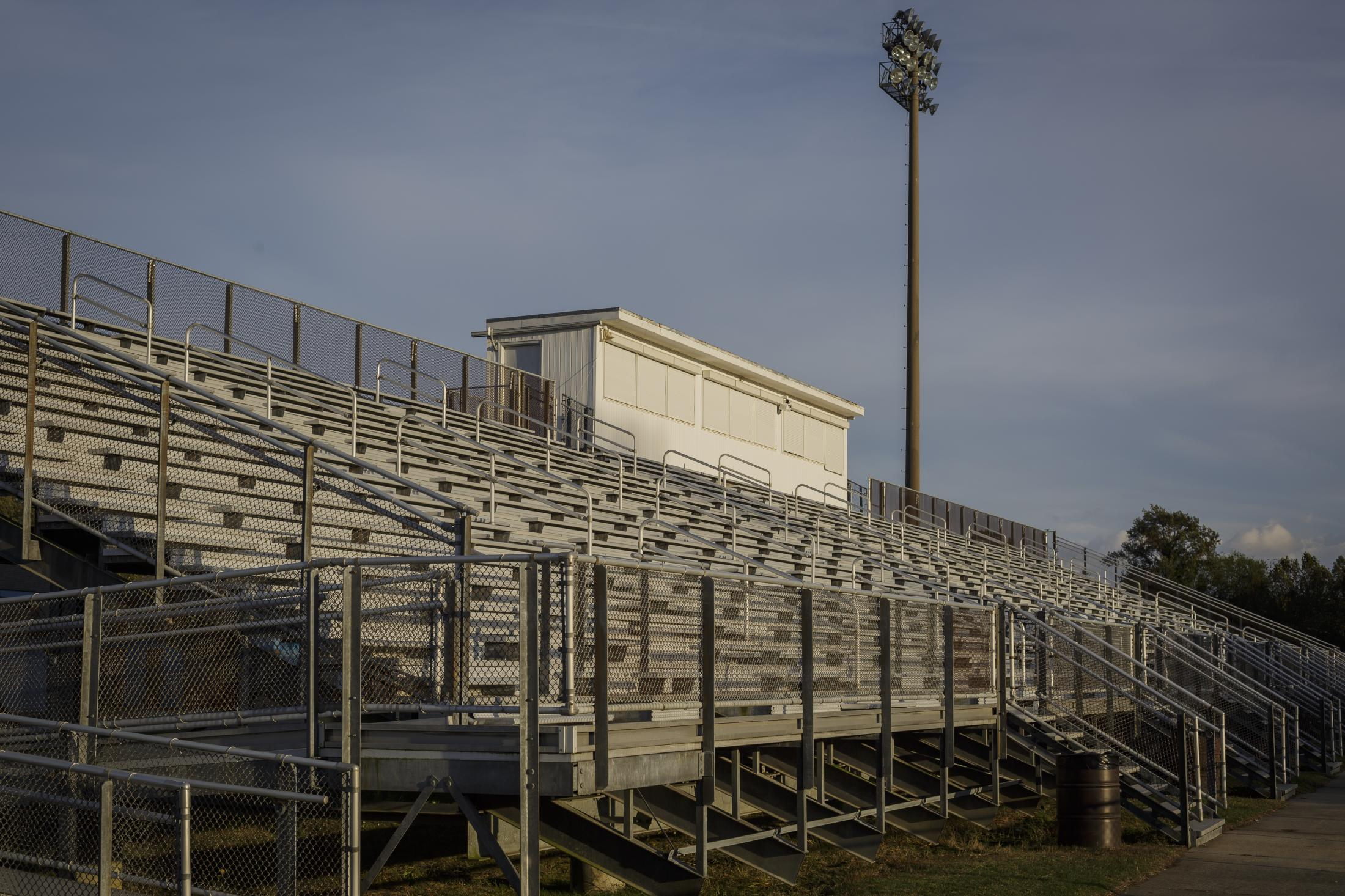 NORFOLK, VA – October 29, 2020: Detail of the empty stairs during a football practice at Lake Taylor High School. Due to the COVID-19 pandemic, football games were canceled at Lake Taylor High School in Norfolk, VA, leaving the TITANS members with plenty of free time. Carlos Bernate / The Undefeated