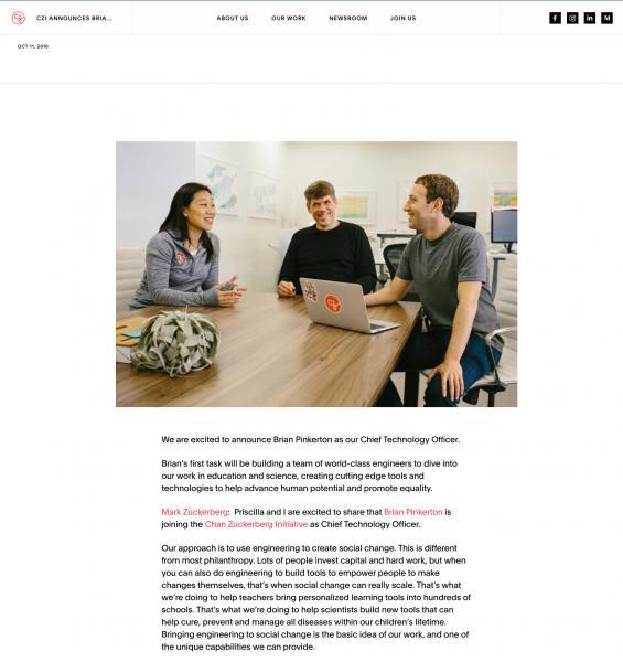 Chan Zuckerberg Initiative / Hiring of first company officer