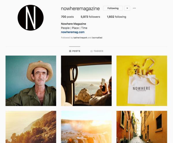 Nowhere Magazine / Social media feature