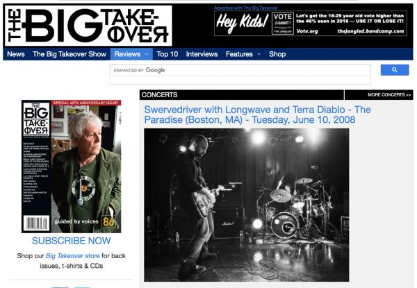 The Big Takeover / Article on U.S. Swervedriver music tour