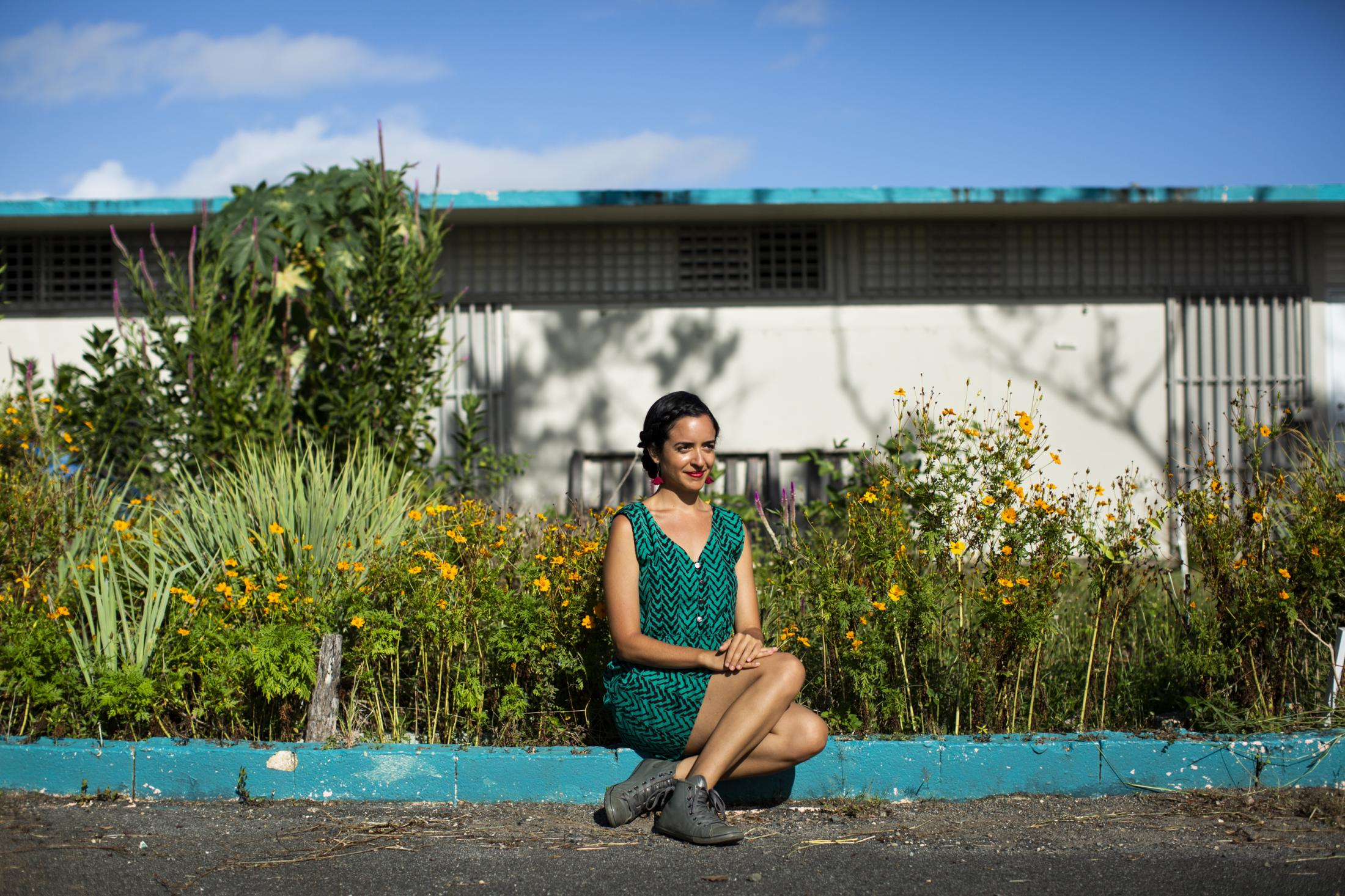 Carol Ramos-Gerena poses for a portrait at the Angel Ramos School, also known as the Berwind Middle School, where she has worked extensively with the public's school Berwind Middle School Urban Agroecological Project (in Spanish, Proyecto Agroecológico Urbano Intermedia Berwind - PAUIB) in San Juan, P.R. on July 22, 2020. Ramos-Gerena, a PhD student of Urban and Regional Planning Department at University of Buffalo, is the recipient of the Healthline & Feeding America Stronger Scholarship. (Erika P. Rodriguez for Healthline)