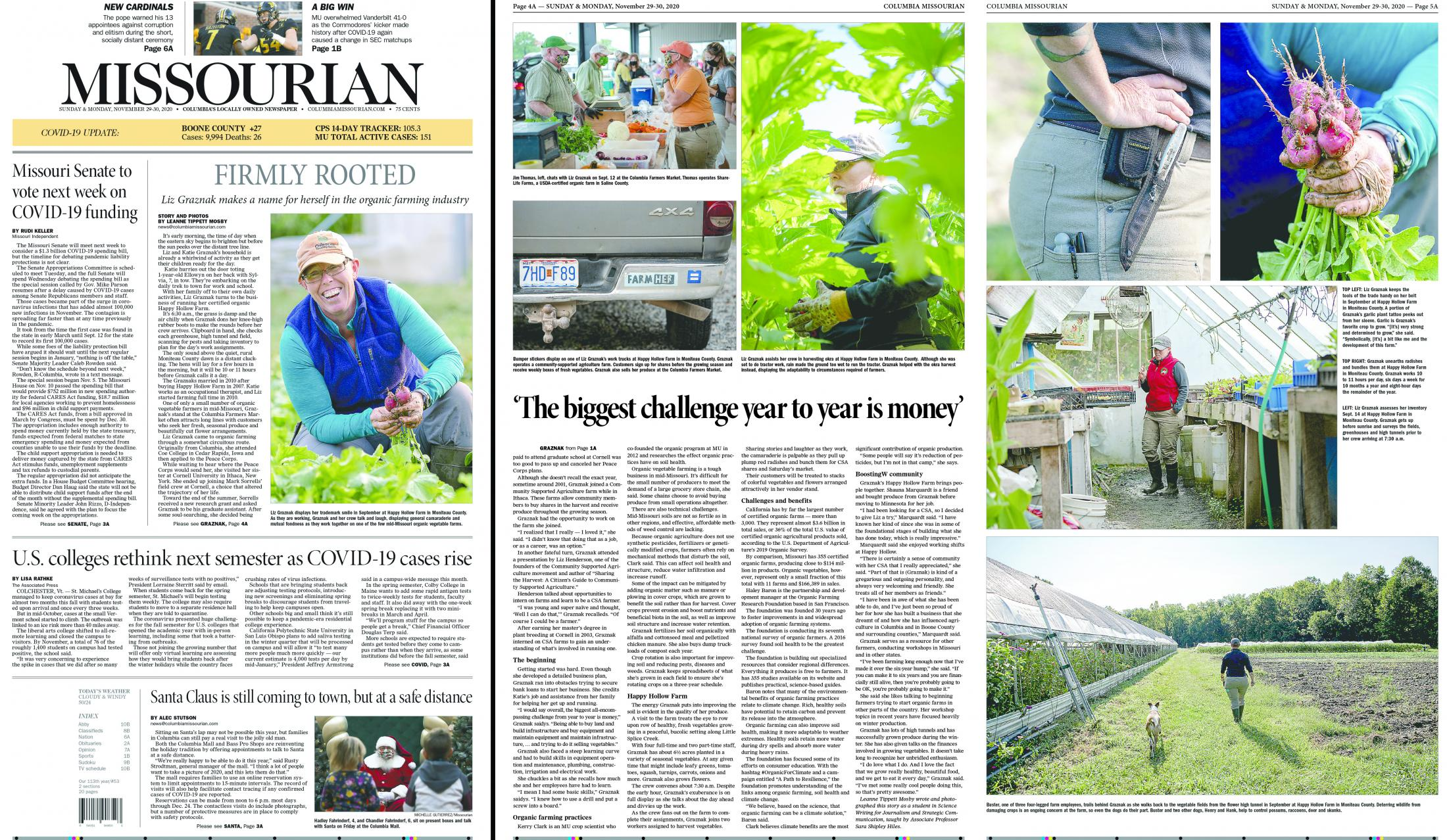 I edited this photo story about an organic farmer in mid-Missouri named Liz Graznak by Columbia Missourian photographer Leanne Mosby and worked with fellow editor Elizabeth Underwood to design the centerpiece and two facing photo pages. The web longform can be found here .