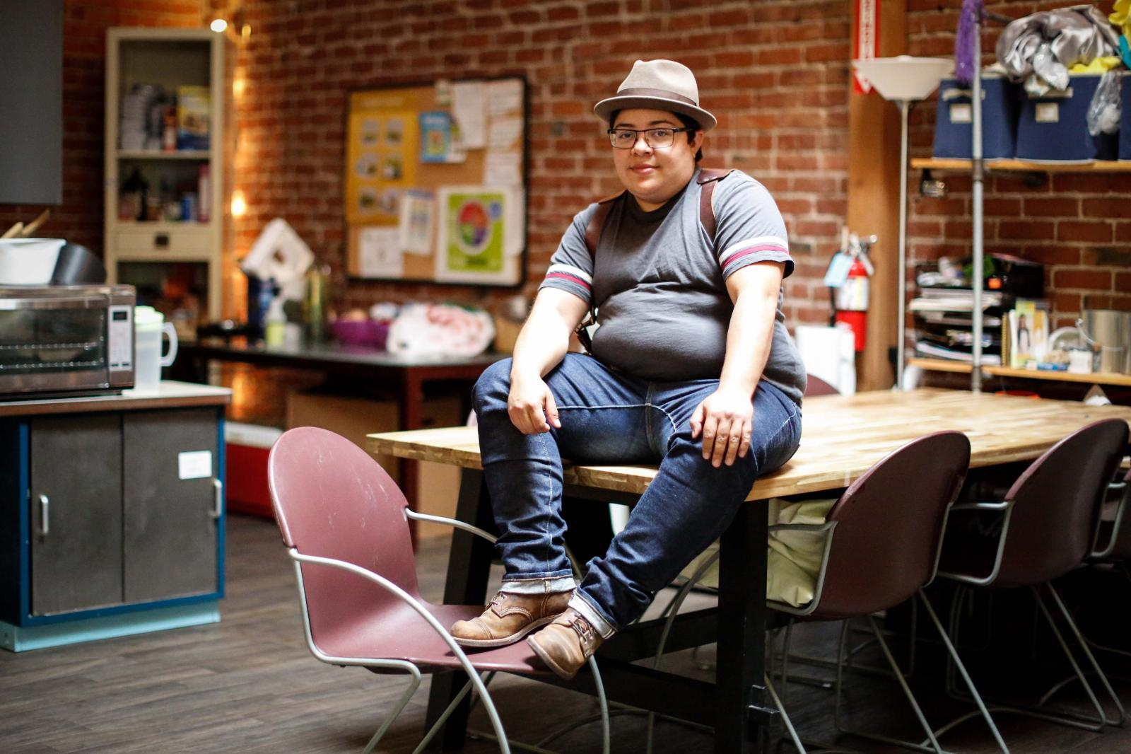 Erik C, 31, at the San Jose LGBTQ Youth Space, which has become like a second home to them, on Tuesday, May 14, 2019 in San Jose, Calif.