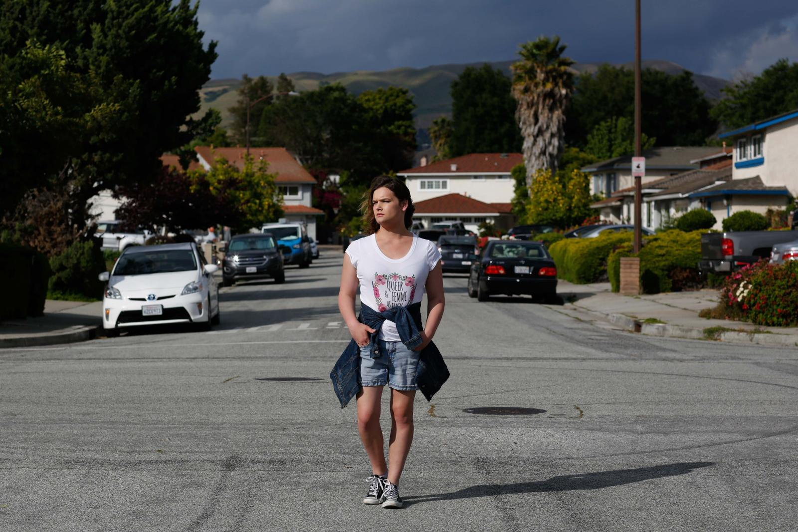 Pia Cruz, 22, stands for a portrait in her suburban neighborhood on Thursday, May 24, 2019 in San Jose, Calif.