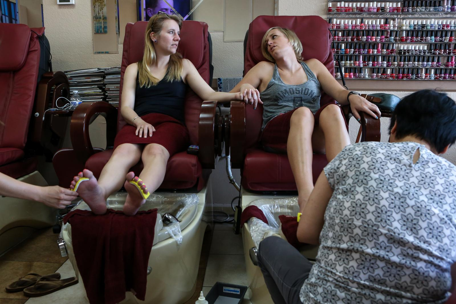 Taylor discusses possible complications of gender reassignment surgery with her best-friend, Kat, while getting a pedicure in Phoenix in March 2017.