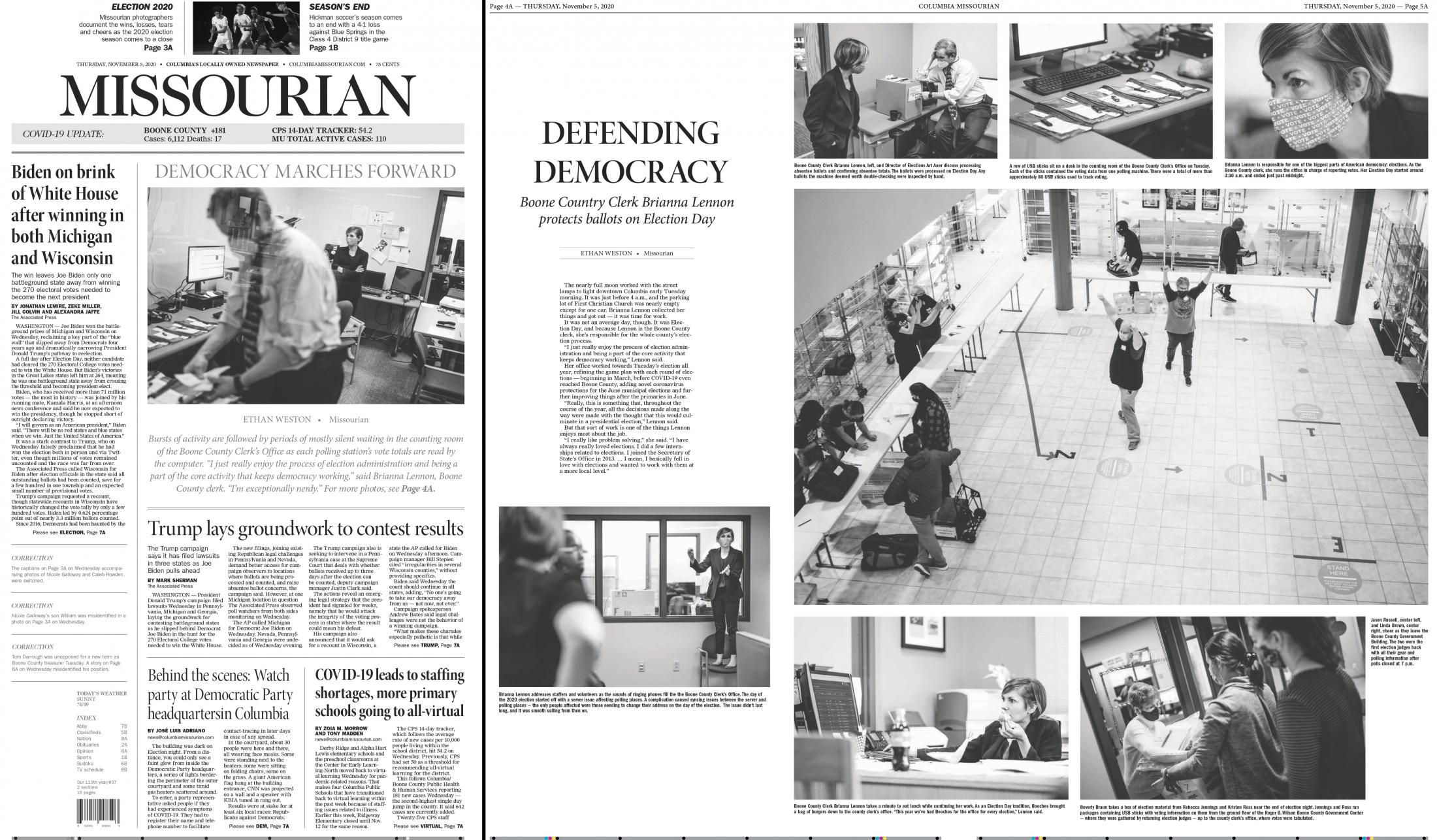 I worked with photographer Ethan Weston to edit his essay on the Boone County Clerk and her office and how Election Day looks for them. After editing his essay, I designed the digital product for the Columbia Missourian  website. I also sat down with designer Jacob Moscovitch to design the print edition featuring Weston's essay. This is the print product with the digital product located here .