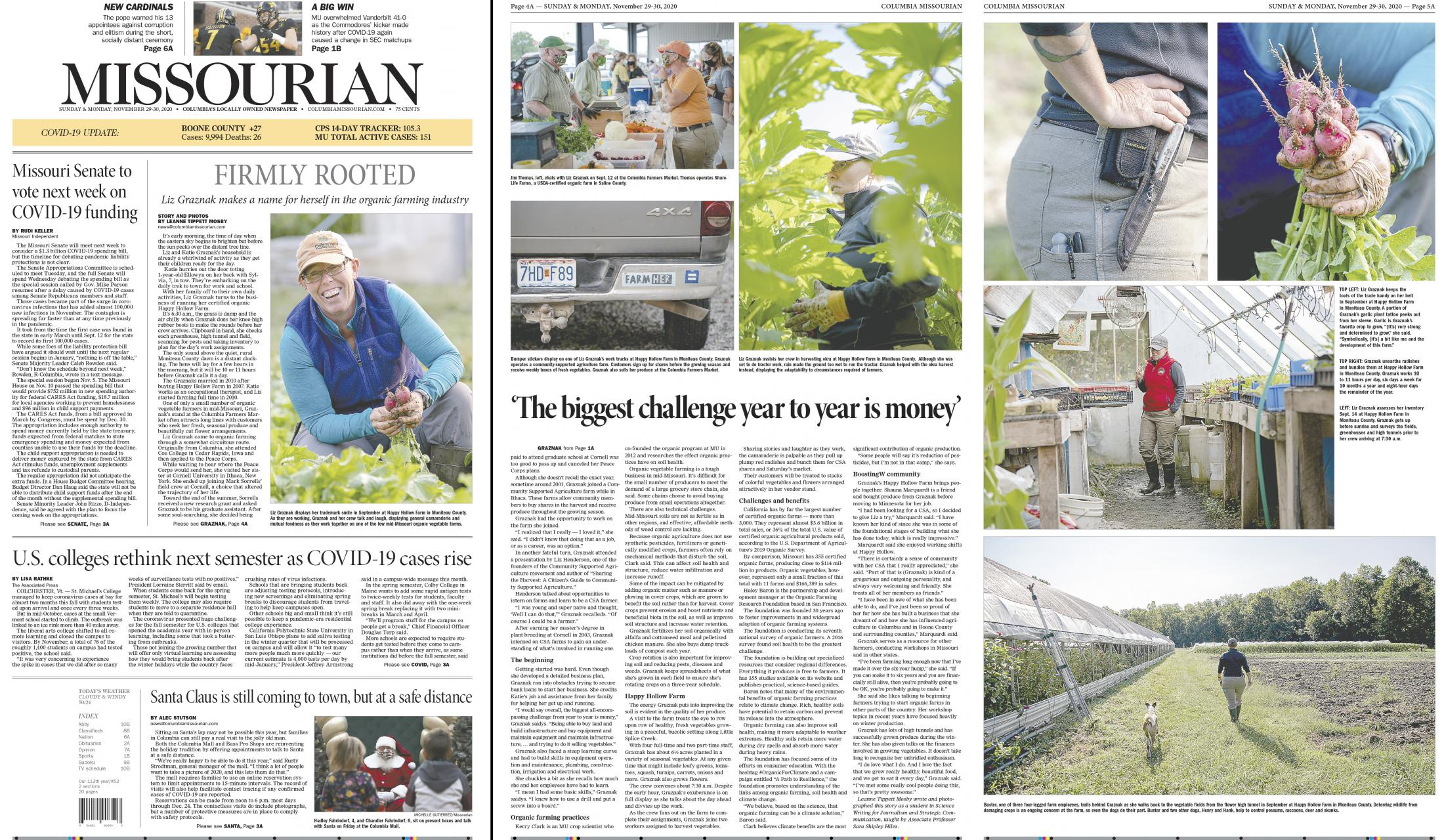 I worked with photo editor Ethan Weston and photographer and Leanne Tippett Mosby to edit images to accompany Mosby's article on local farmer Liz Graznak. Weston and I also designed the print and digital products for this story. This is the print product with the digital product located here .
