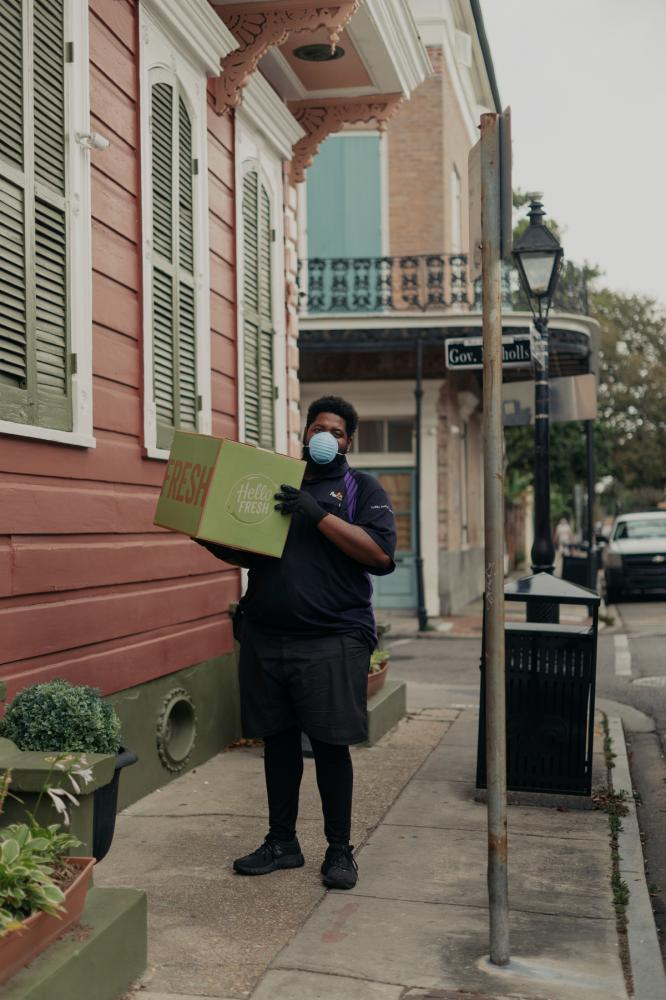 �I definitely feel like there is a risk out here,� Sean, 29, said while on a shift for FedEx on March 20, 2020. �All you really can do is use hand sanitizer and stay distant.� (Annie Flanagan for The New York Times)