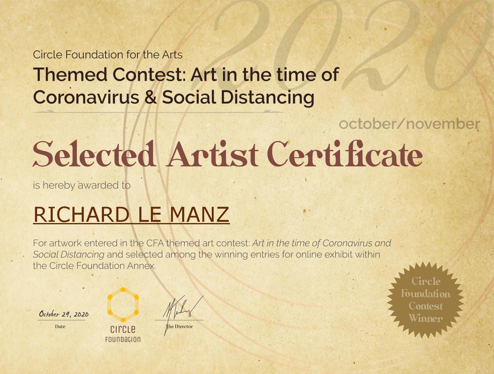 Photography image - Loading CFA_Contest_Certificate_SelectedArtist_RICHARD_LE_MANZ.jpg