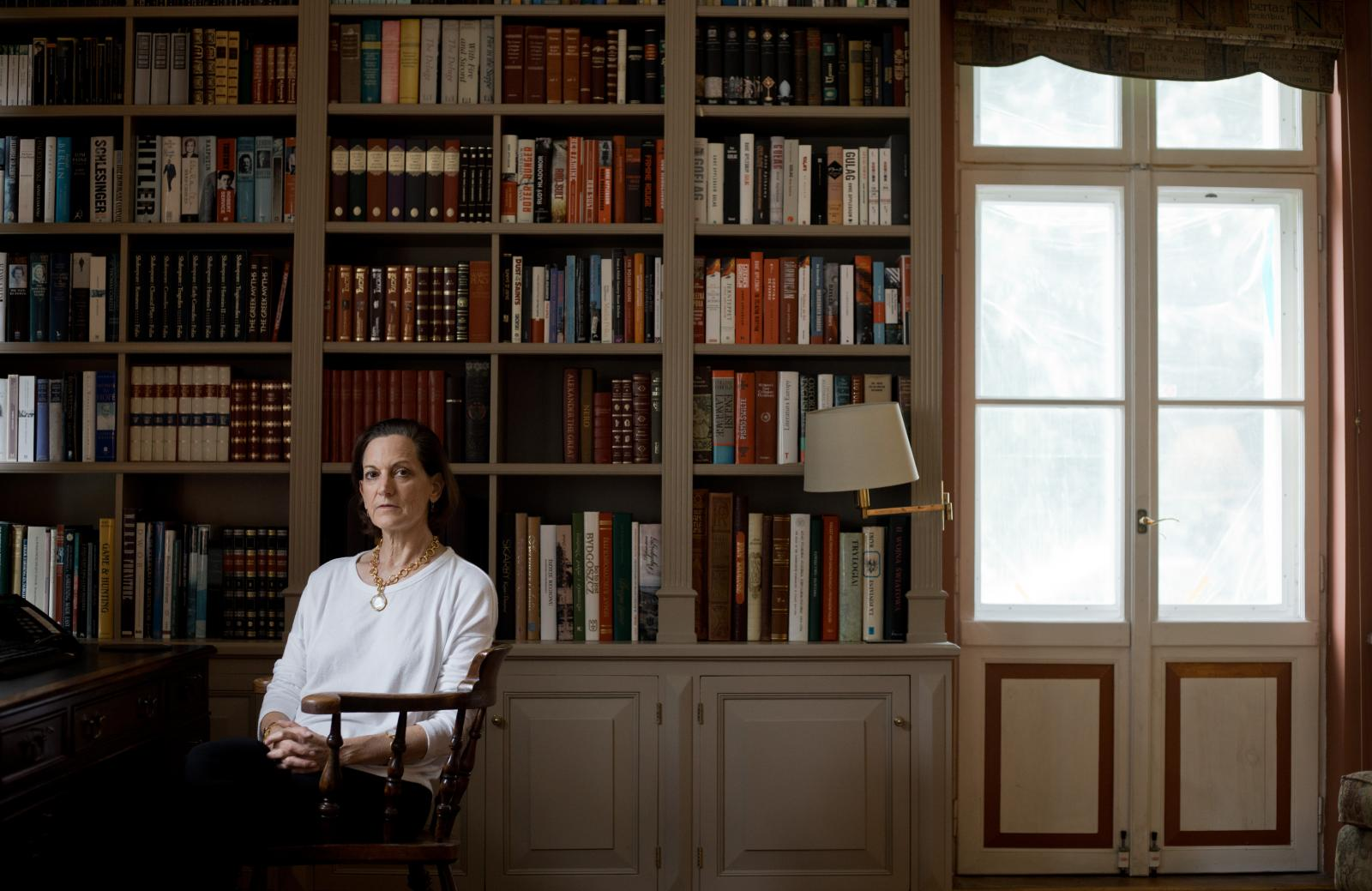 """NEAR NAKLO, POLAND, 7/07/2020: Writer Anne Applebaum is posing for photographer at her village mansion house called """"Dwor Chobielin"""" in nothern Poland. (Photo by Piotr Malecki)"""