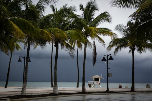 A lifeguard tower is seen on the shore in at Las Olas Beach in Fort Lauderdale on September 2, 2019. Eva Marie UZCATEGUI