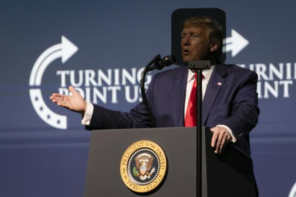 WEST PALM BEACH, USA - DECEMBER 21: U.S. President Donald Trump speaks at the Turning Point USA Student Action Summit at the Palm Beach County Convention Center in West Palm Beach, Florida on December 21, 2019. Photo: Eva Marie Uzcategui