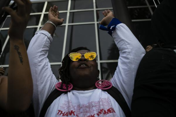 A protestors yells chants as gathers at City of Fort Lauderdale Police Department during a rally in response to the recent death of George Floyd in Fort Lauderdale, Florida on May 31, 2020. Eva Marie UZCATEGUI