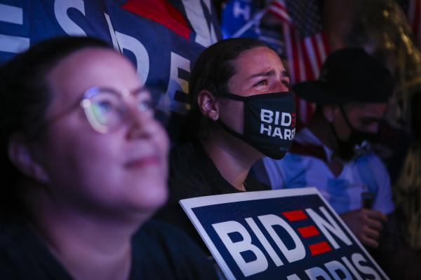 FLORIDA, USA - NOVEMBER 7: A supporter of the Democratic party reacts while Joe Biden's (no pictured) speech as 46th U.S President in Miami, Florida, United States on November 7, 2020.