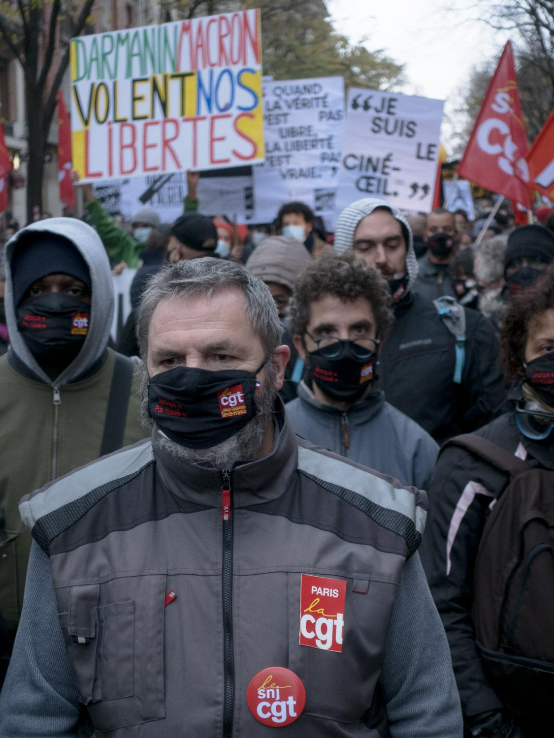 """The journalists' unions SNJ march against the so called """"Sécurité Globale"""" (Global Security) bill during a march in Paris. Gambetta avenue, Paris, France, the 5th of December 2020."""