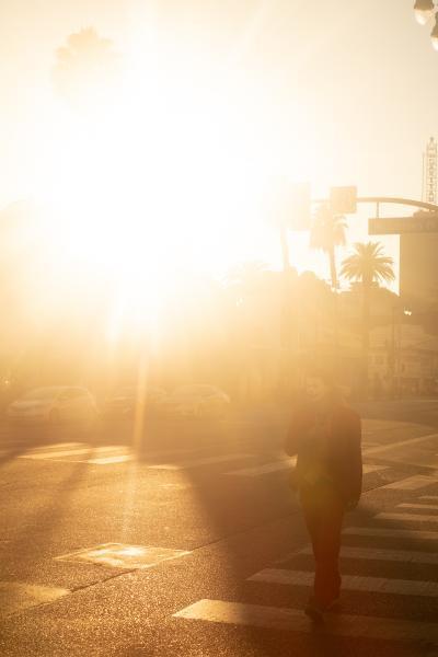 A Joker impersonator walk on a deserted Hollywood Boulevard during golden hour on Election Eve.