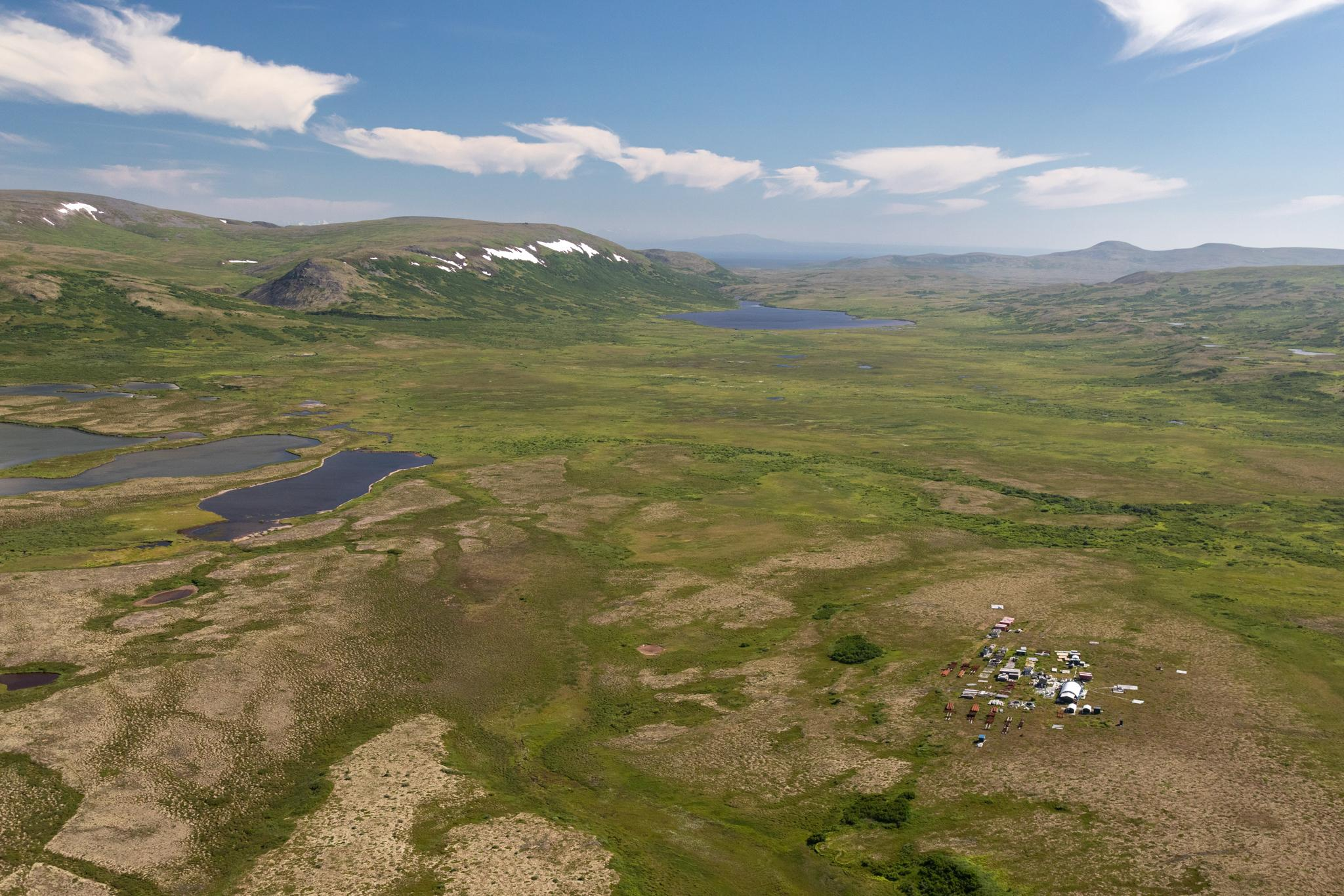 A work camp on the tundra at the site of the proposed Pebble Mine, thought to be one of the world's largest deposits of copper and gold. If built, the mine—an open pit over a mile wide and a third of a mile deep—would employ around 1,000 people and generate an estimated $300 billion. While a few nearby communities, including the village of Iliamna, support the project for the economic boost it could bring to the region, the majority of Bristol Bay residents are opposed to it.