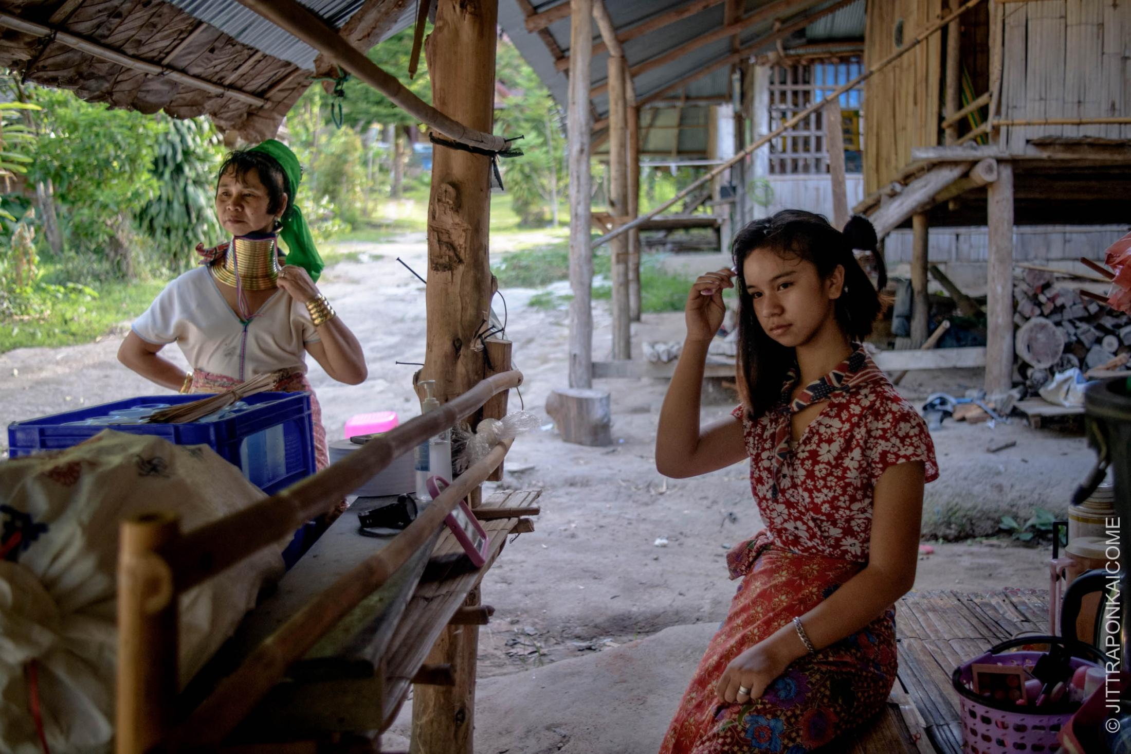Ma Mee, 14 year old Kayan girl living with her grandmother since she was little, and feels like her home. But Covid-19 forced to move out due to Long Neck Karen tribe village tourist business at Baan Ting Luang has permanently ended. Chiang Mai – Thailand.