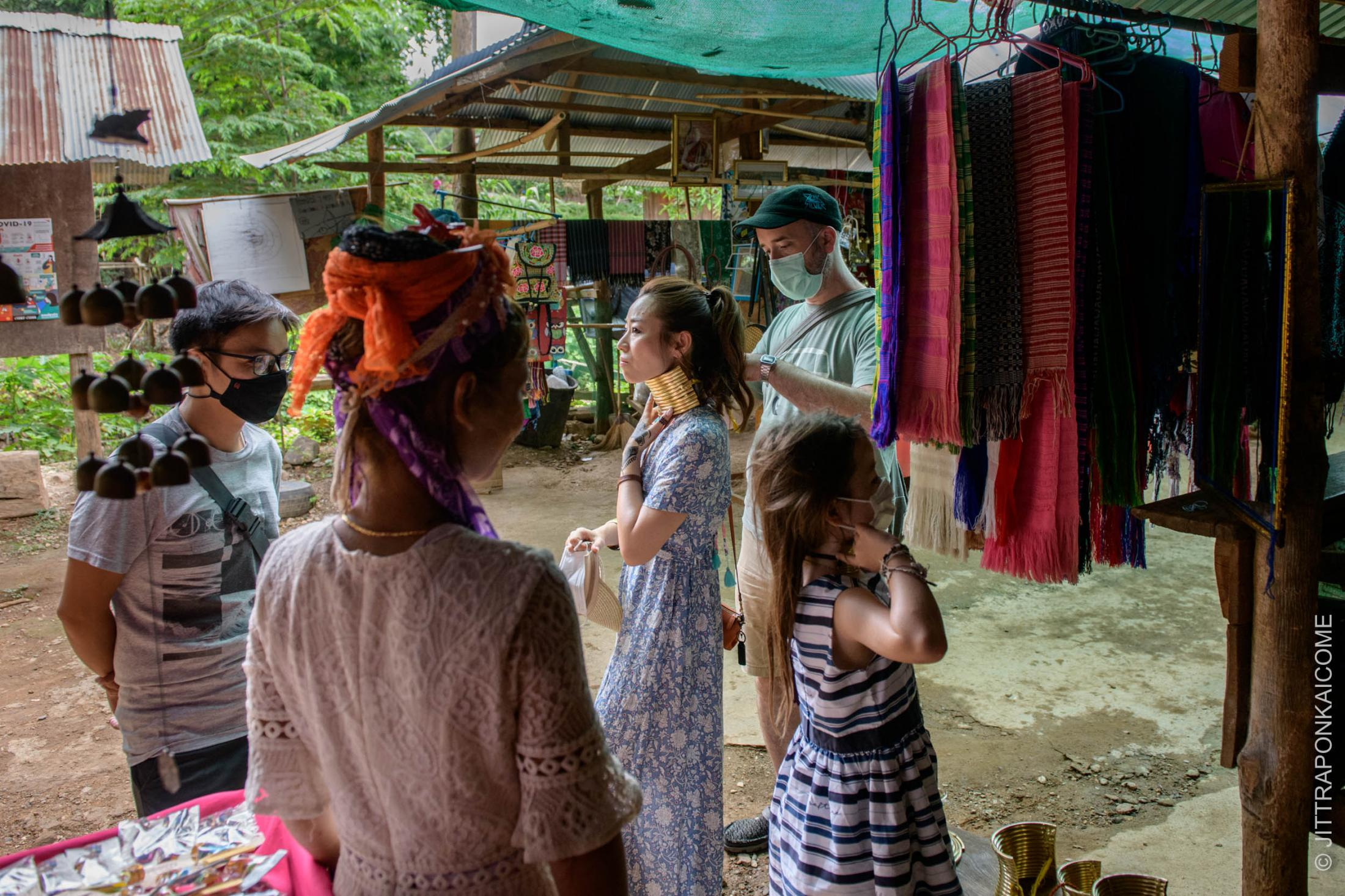 Since the Long Neck village is re-opened for visitors in June after the lockdown in early 2020, it can hardly earn money due to only a few domestic tourists visiting each day that comes with a small chance of purchasing souvenir items. Mae Hong Son, Thailand.