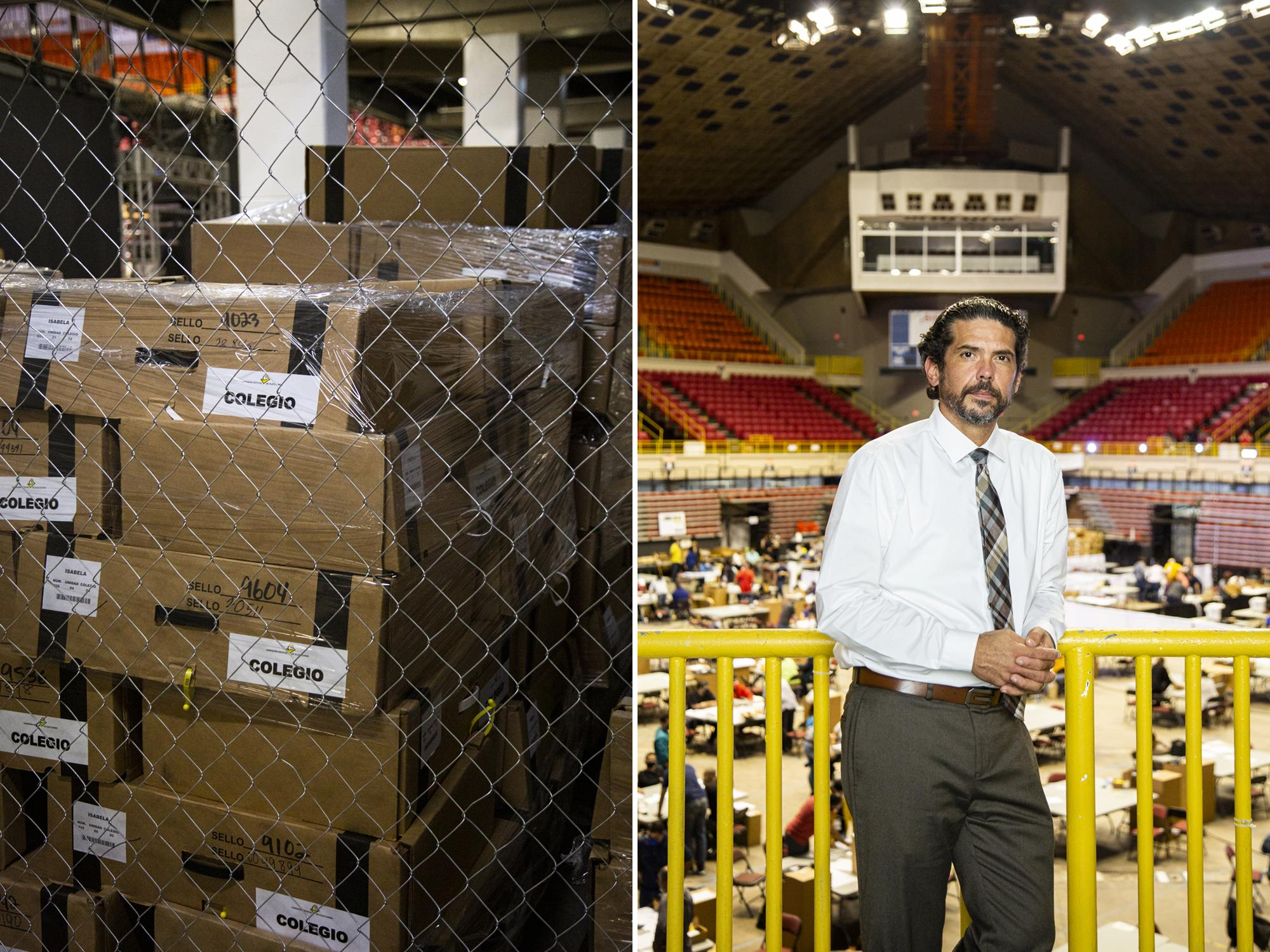 Francisco Rosado Colomer, President of the State Electoral Commission, poses for a photo at the Roberto Clemente Coliseum in San Juan, P.R., on Nov. 11, 2020. A week after the island's general election over 125 boxes of uncounted ballots surfaced. (Erika P. Rodriguez for the New York Times)