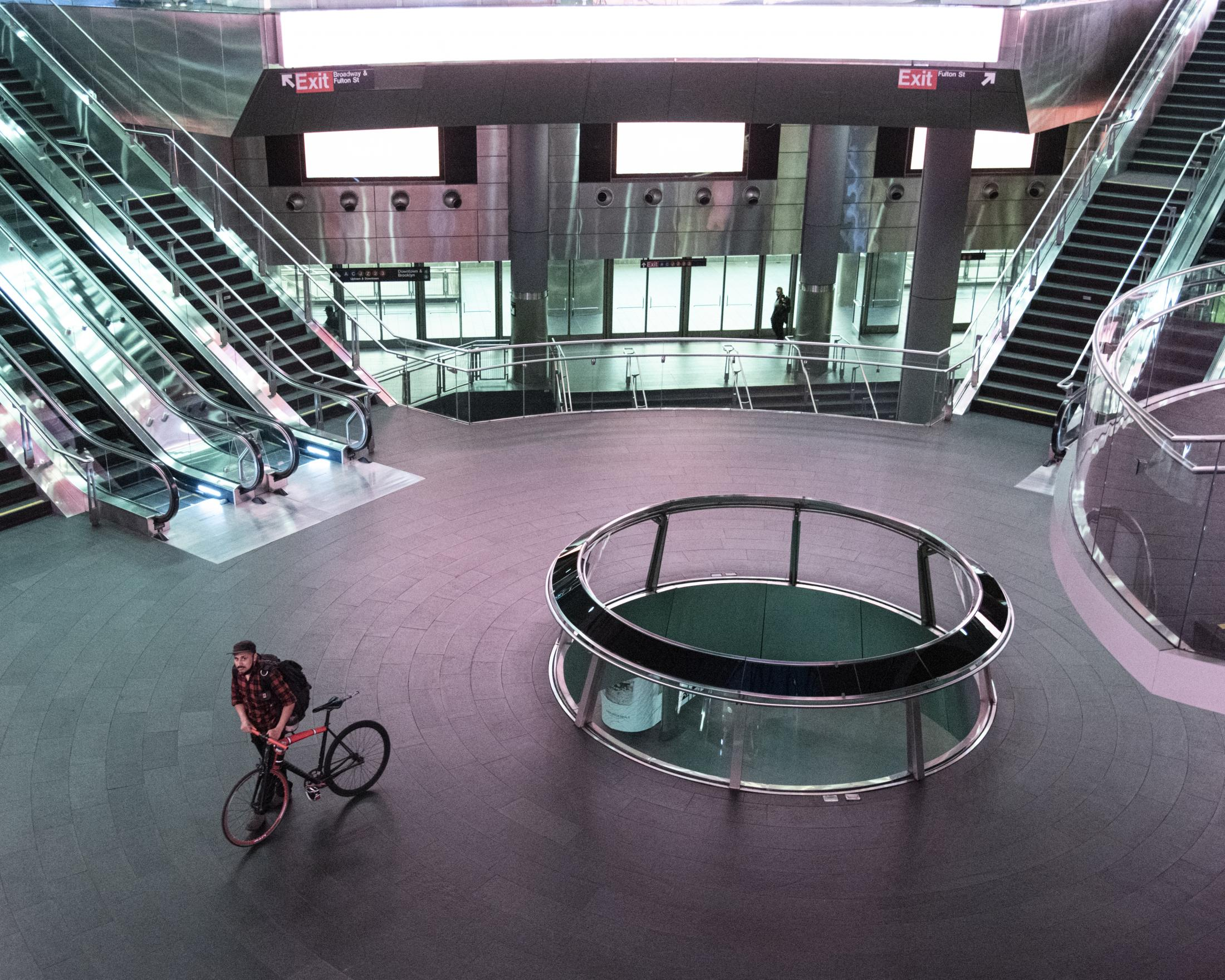 Interior view from an empty Fulton Station in Manhattan, that on a normal basis would serve about 300.000 users a day.