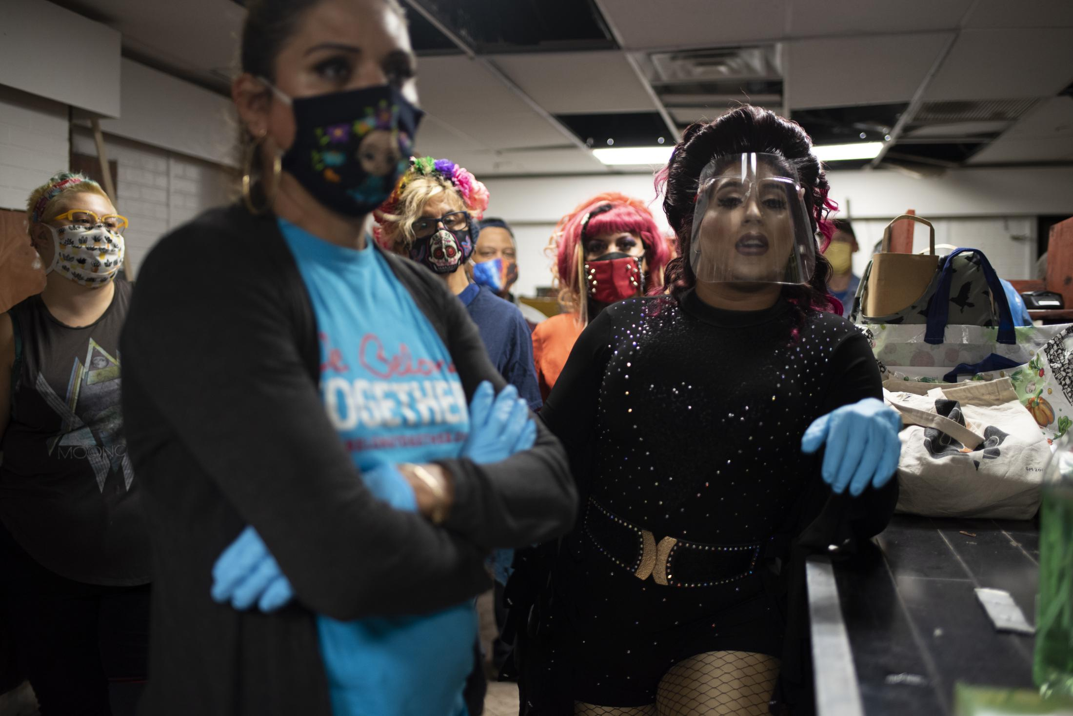 Transgender woman Joselyn Mendoza (in blue) and other volunteers of the L.G.B.T.Q food pantry Love Wins prepare to deliver groceries a vulnerable people in Jackson Heights, Queens in response to the Covid pandemic.