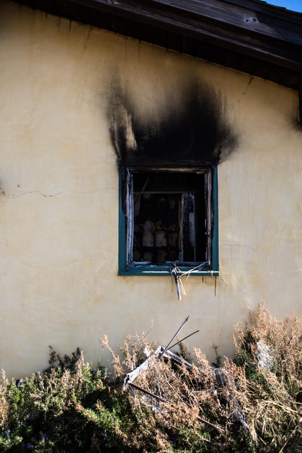 A window from home that partly burnt.