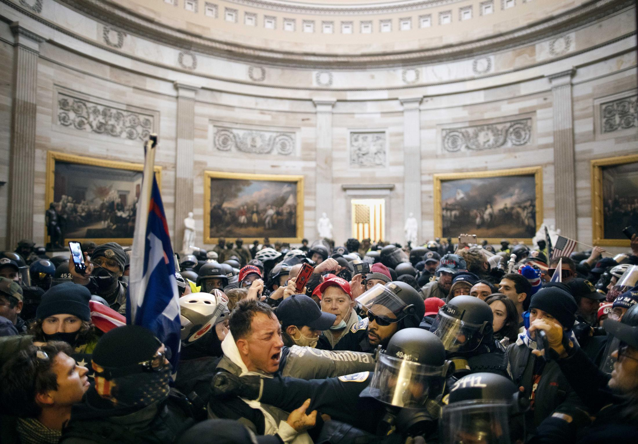 United States Capitol Police intervene as trump supporters breach security and enter the Capitol on Wednesday Jan 6, 2021.