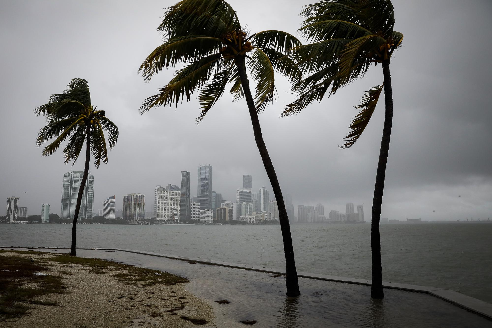 The city skyline during rain caused by Tropical Storm Eta, in Miami, Florida, U.S., November 9, 2020. REUTERS/Marco Bello