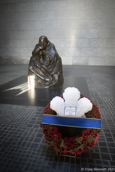 The Wreath laid Prince Charles at the Neue Wache Central Memorial in Berlin for Germany's Day of Mourning. 75 years after the end of WW2.