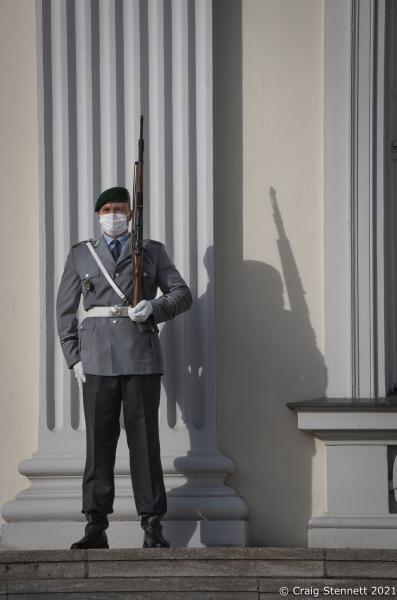 Soldiers on guard at The Schloss Bellevue residence of the President of the Federal Republic of Germany, Berlin