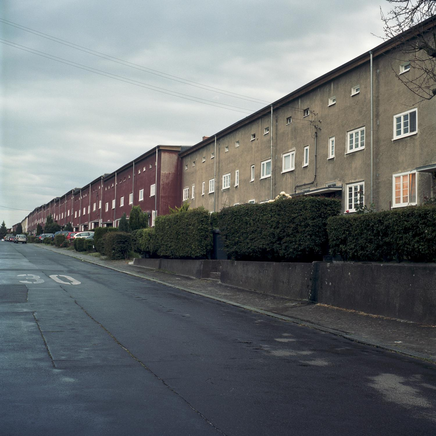 A street at dusk is pictured in the residential area Reform, near Sudenburg district, where the old stadium Heinrich-Germer-Stadion and Thälmannwerk are located, in Magdeburg.