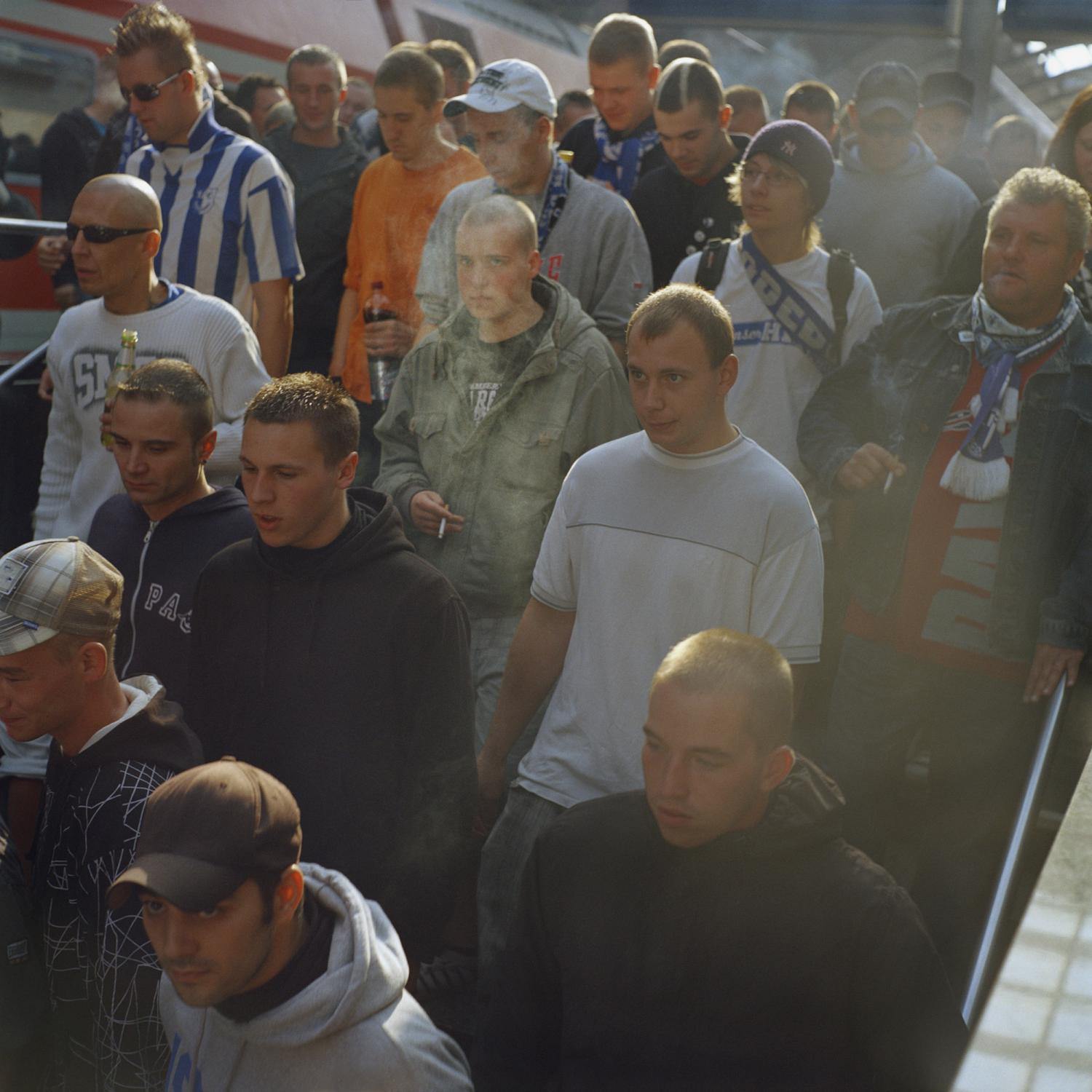 Supporters from Magdeburg arrive at the Halle train station of Halle for the big derby against the rival Halle FC.