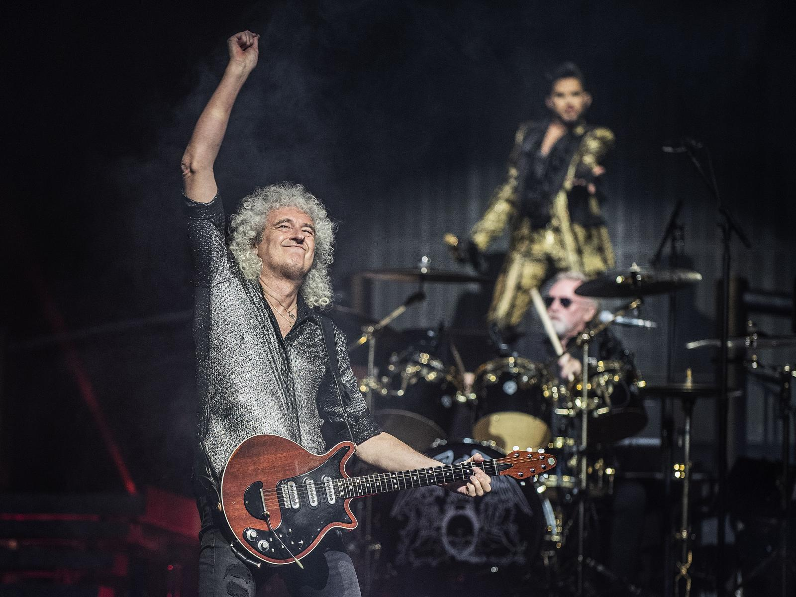 Queen guitarist Brian May, left, drummer Roger Taylor and lead vocalist Adam Lambert perform during their first of two nights at the Forum in Los Angeles on Friday, July 19, 2019. (Photo by Nick Agro, Contributing Photographer)