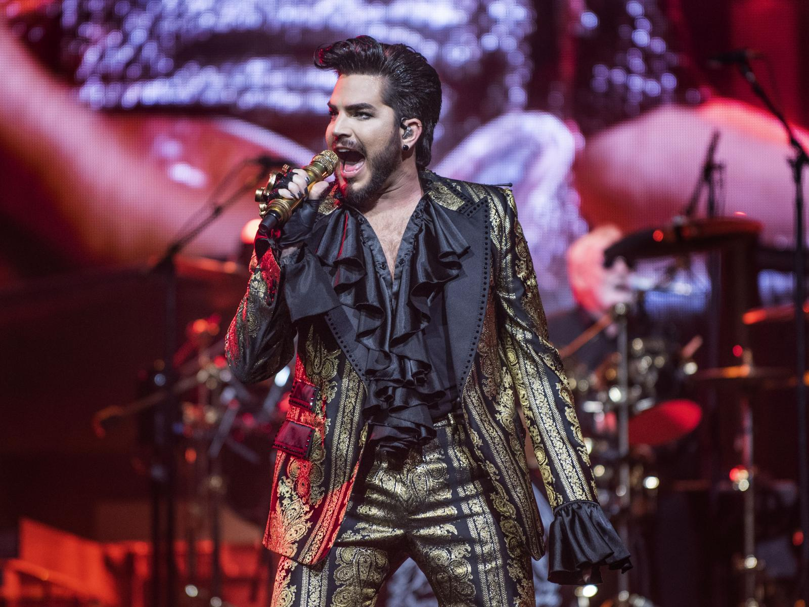 Queen singer Adam Lambert performs during the band's first of two nights at the Forum in Los Angeles on Friday, July 19, 2019. (Photo by Nick Agro, Contributing Photographer)