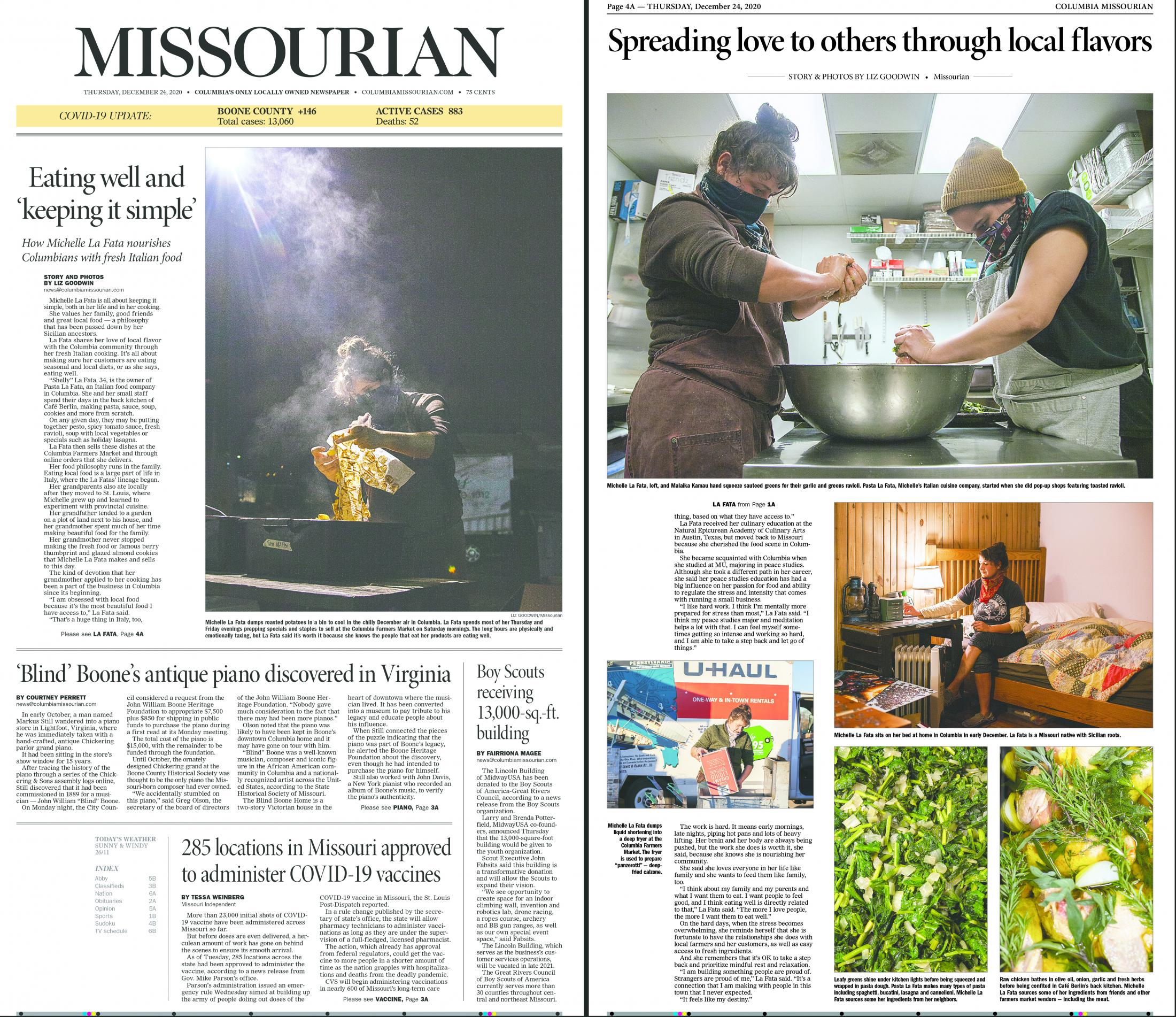I worked with photographer Liz Goodwin to edit her photo story on local cook Michelle La Fata. After editing her story, I designed the digital product for the Columbia Missourian  website. I also sat down with designer Jacob Moscovitch to design the print edition featuring Goodwin's story. This is the print product with the digital product located here .