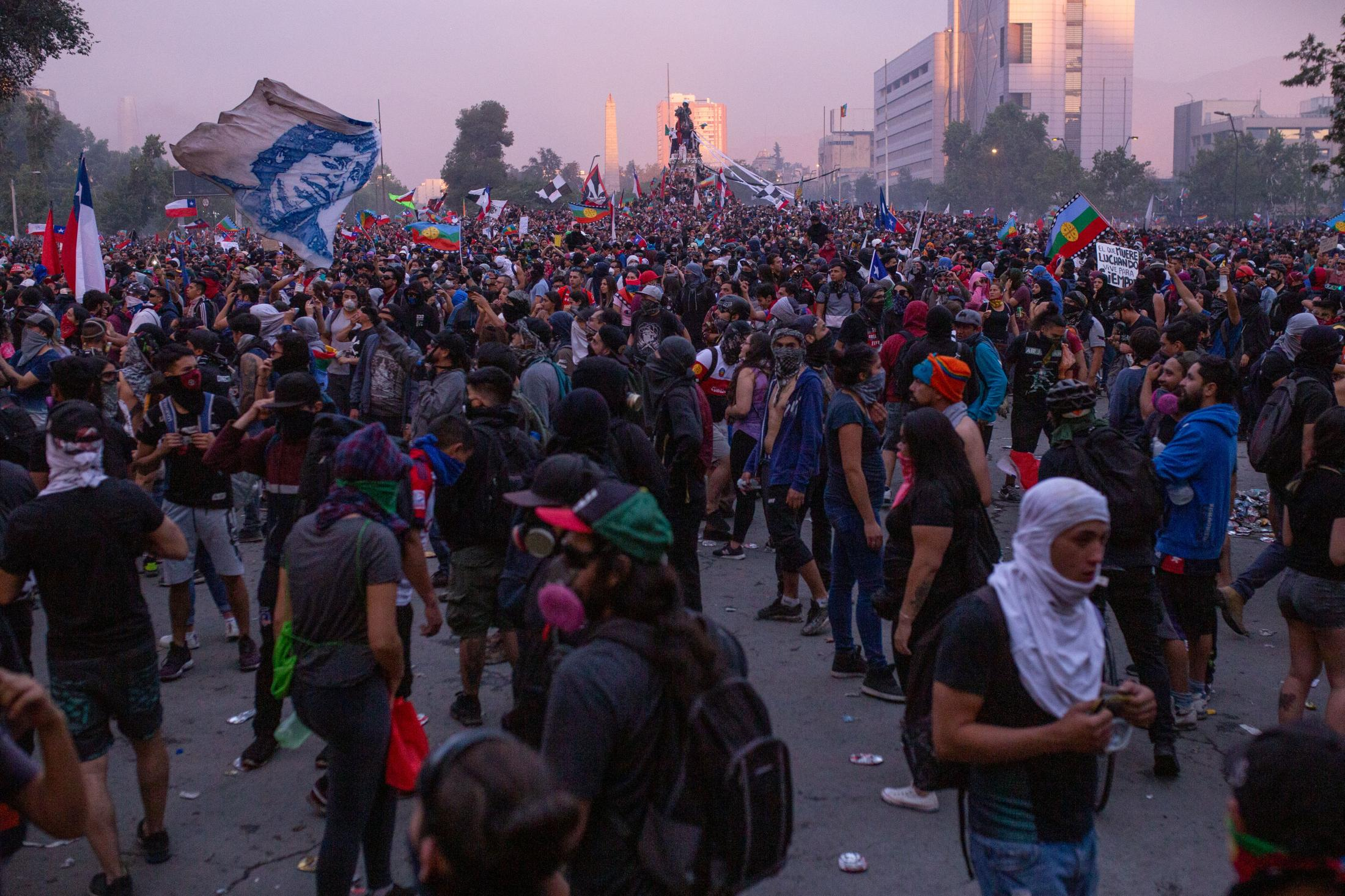 November 9, 2019. Thousands of people gather in the renamed Plaza Dignidad, the nerve center of the protests in Santiago during the social outbreak.