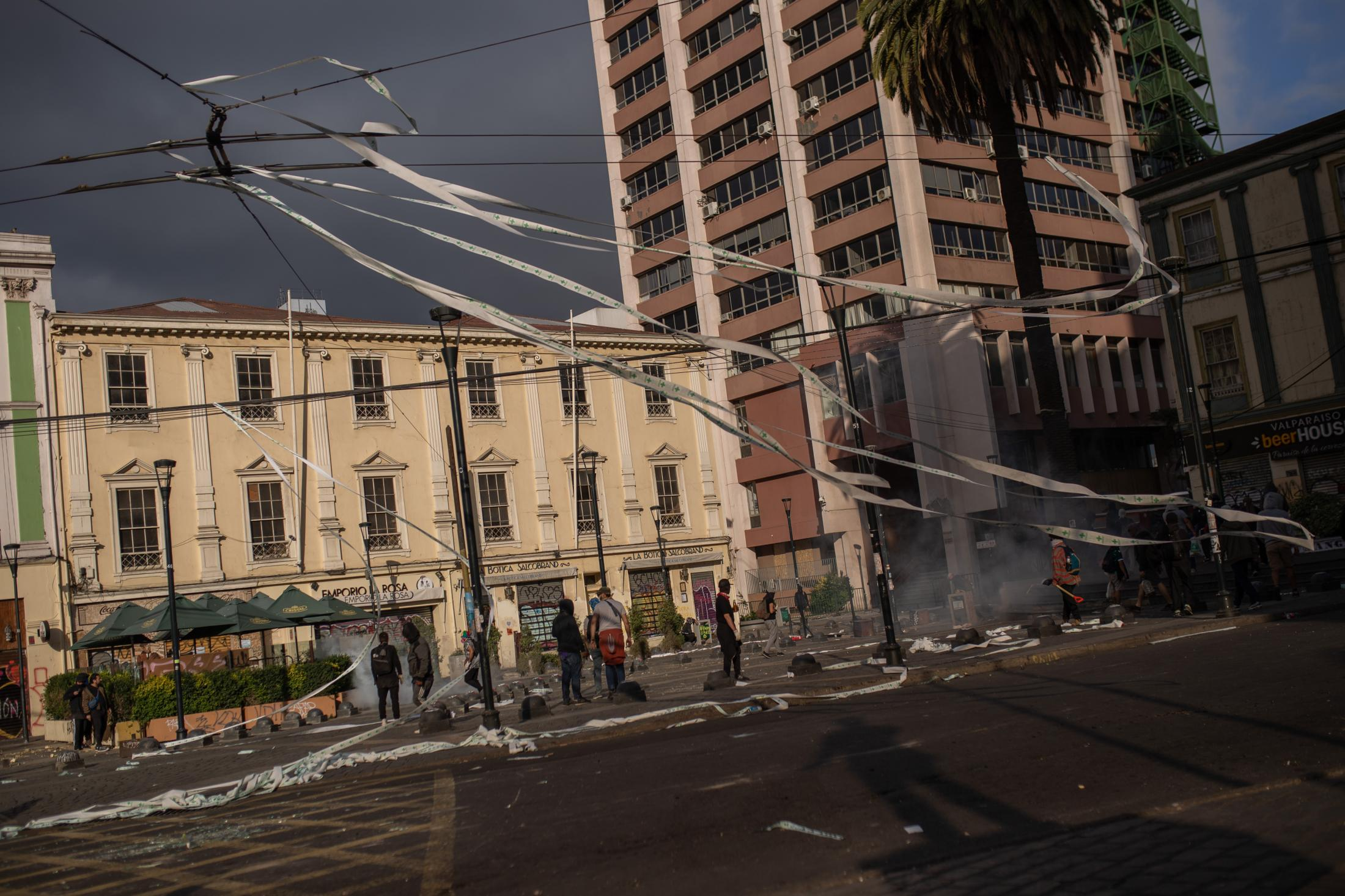 November 12, 2019. Anibal Pinto square, the center of the protests in Valparaiso, after a day of clashes and riots.