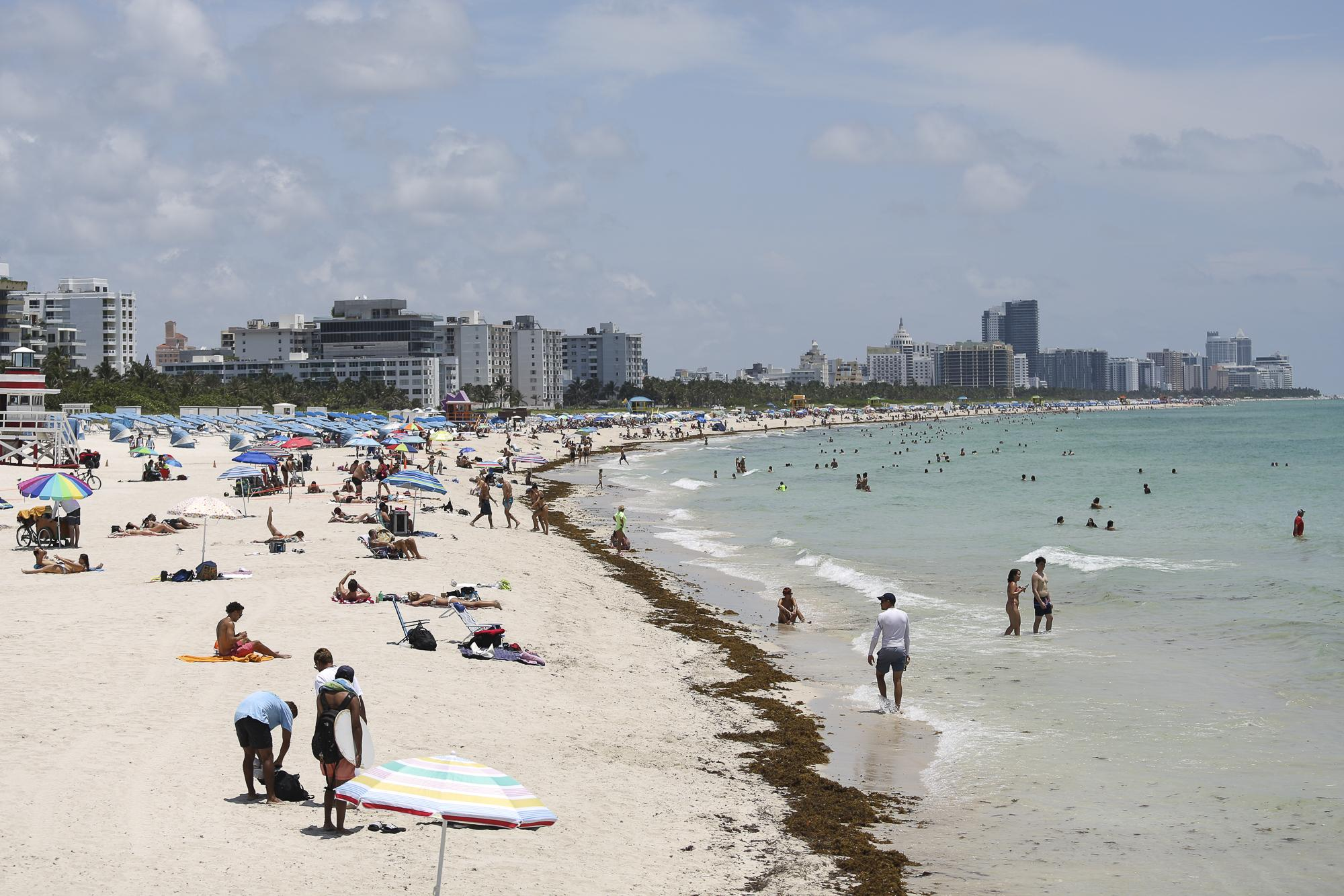 A general view of South Beach as beaches are reopened with restrictions to limit the spread of the coronavirus disease (COVID-19), in Miami Beach, Florida, U.S., June 10, 2020. REUTERS/Marco Bello