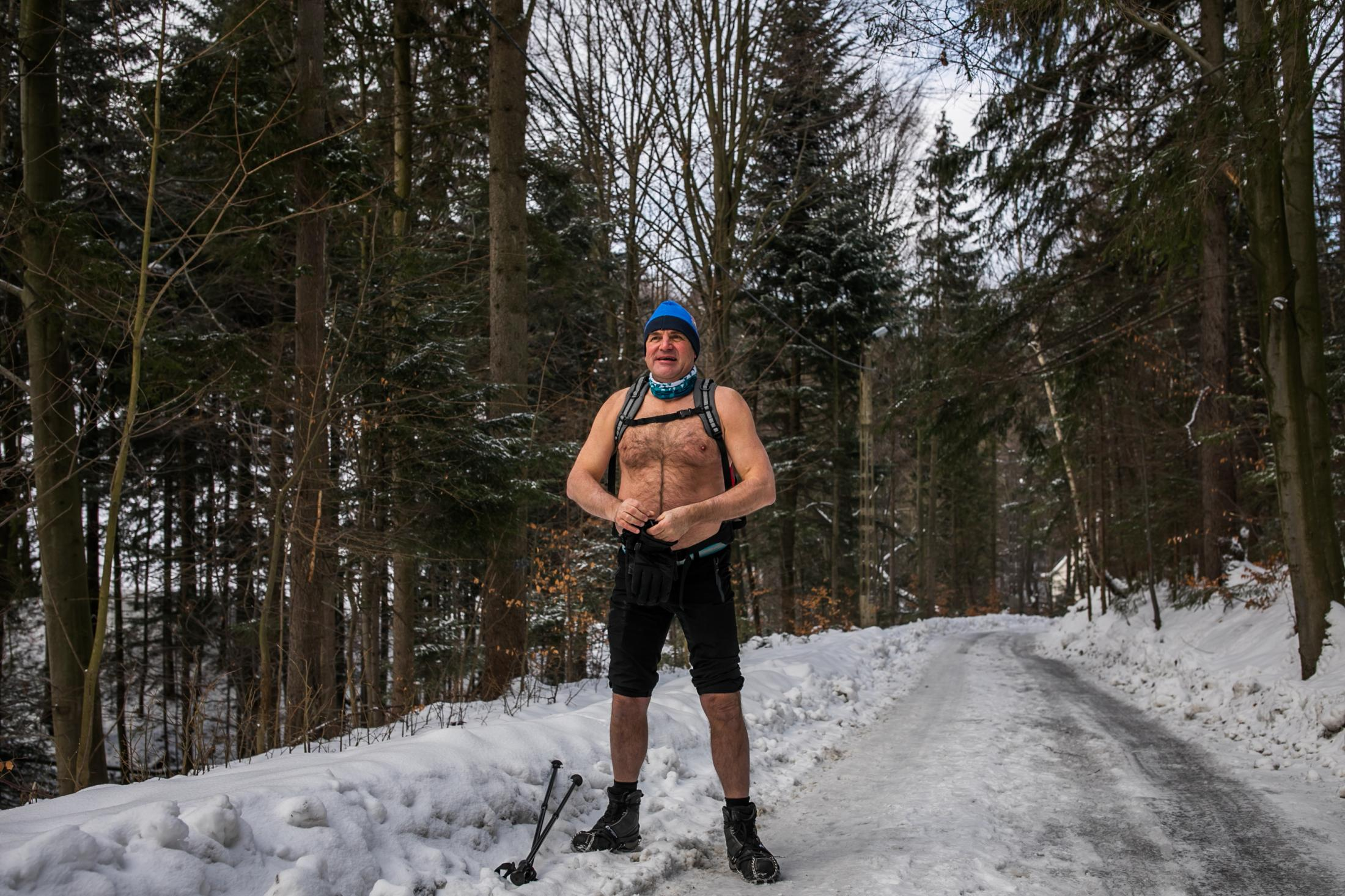 31.01.2021 Szczyrk, Poland. Andrzej Ryrych, he had just taken off his shirt.