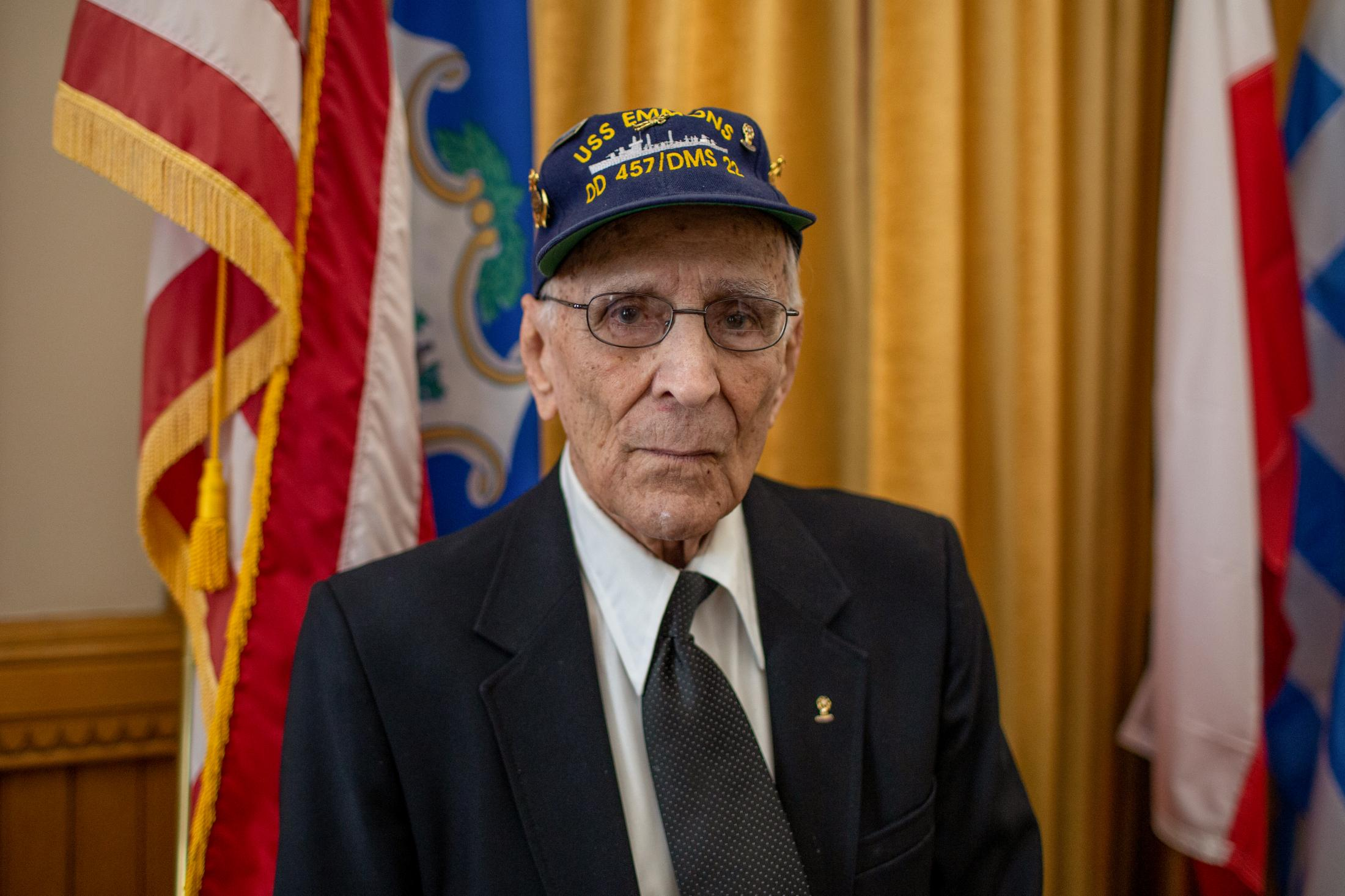 96-year-old World War II Navy veteran Armand Jolly of Pomfret poses for a portrait after a press conference at Lt. Governor Susan Bysiewicz's office in Hartford, CT on May 28, 2019. Jolly announced at the press conference that he will be returning to Normandy, France for the 75th anniversary of the D-Day Landings.